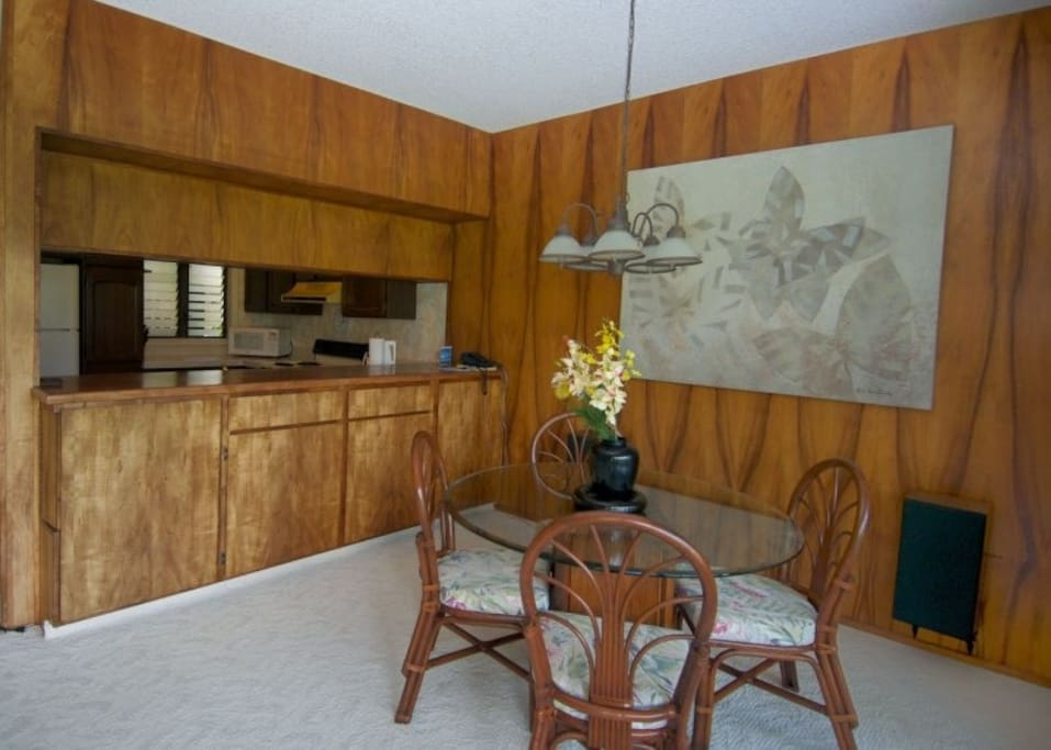 Real Koa wood dining and bar area