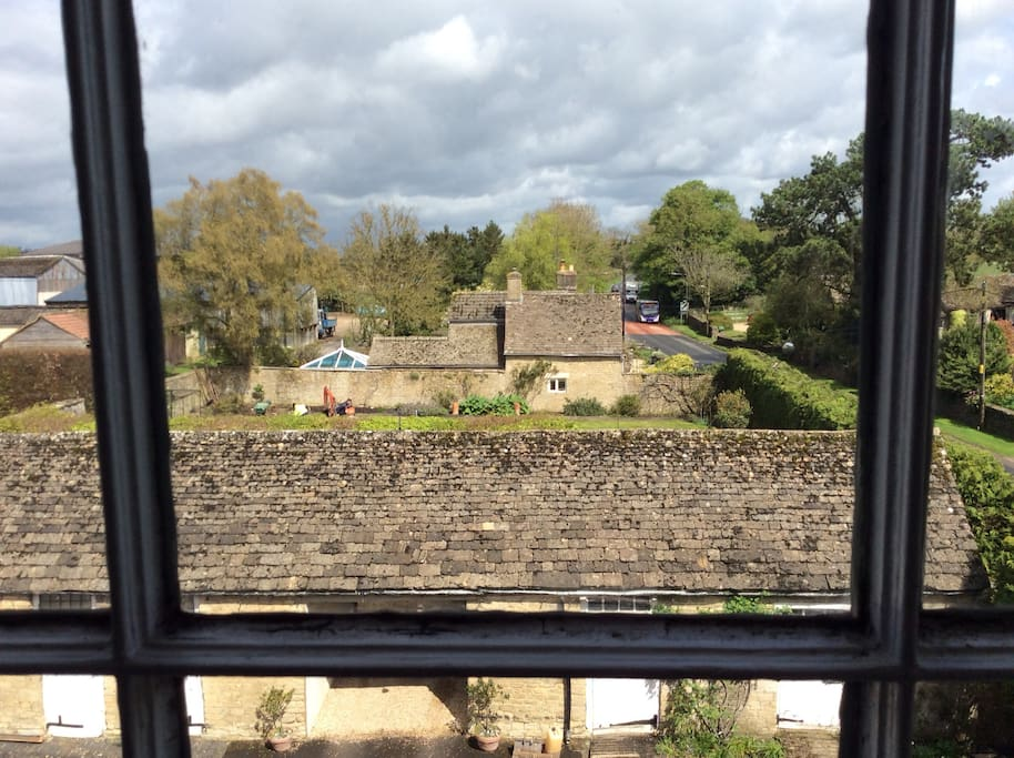 View of kitchen garden from Four Poster room