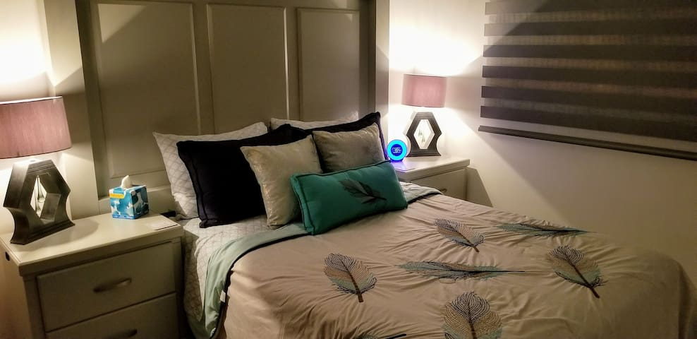 2nd Bedroom With Full Size High Quality  Mattress / Cozy Pillows and Alarm Clock with Relaxing Sounds and USB charging port