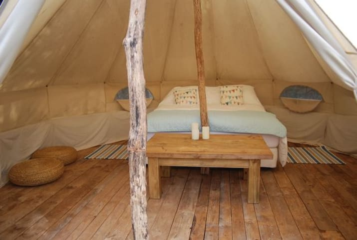 Pure cotton sheets, kingsize bed in your special tented space set within your own private clearing