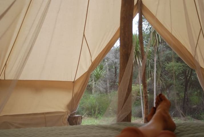 Relaxing in the tent