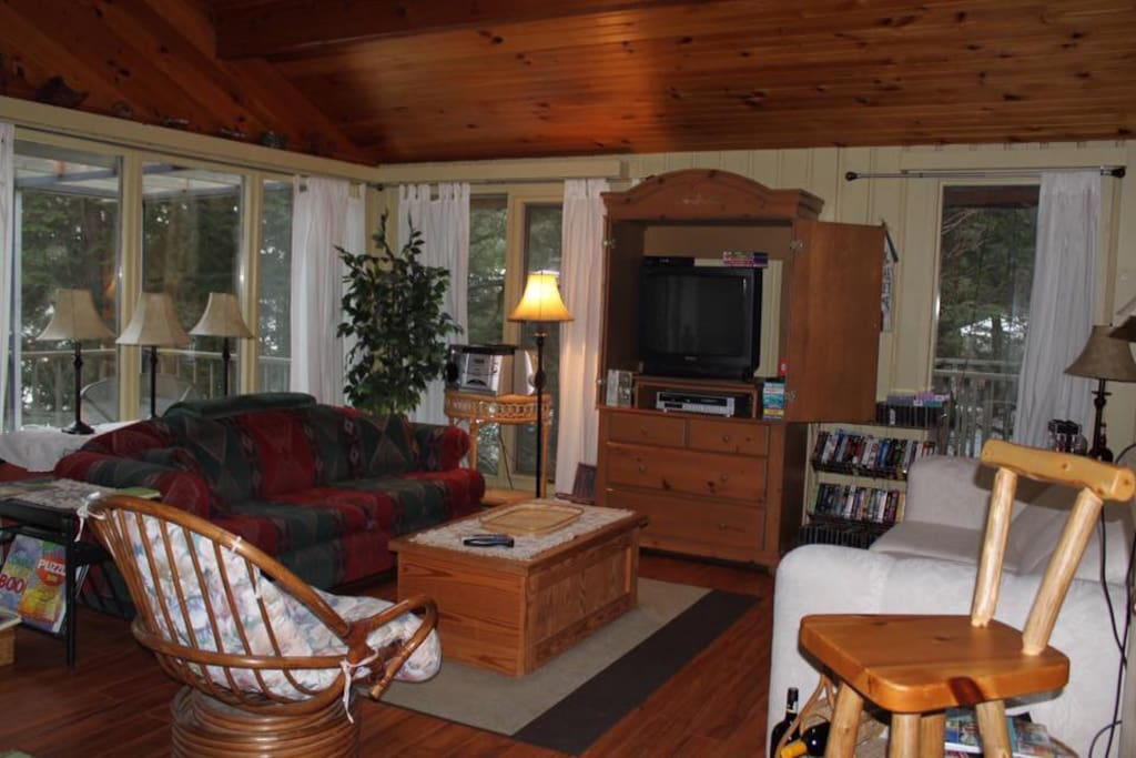The living room features lots of light, lakefront view, woodburning stove, and a huge collection of movies.