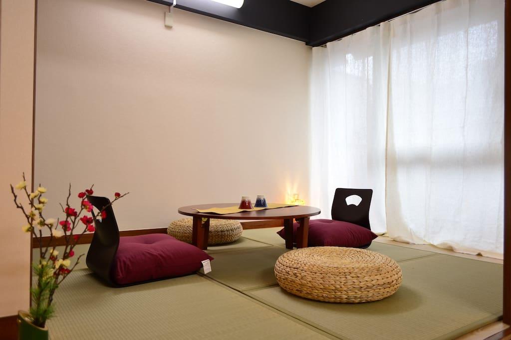 Living room with tatami and nice decor