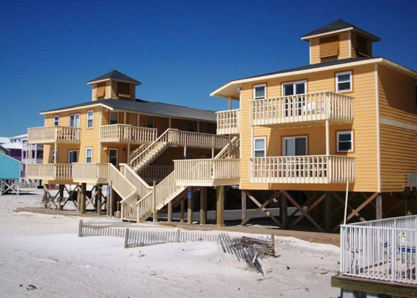View of Sunrise Village complex from the beach.