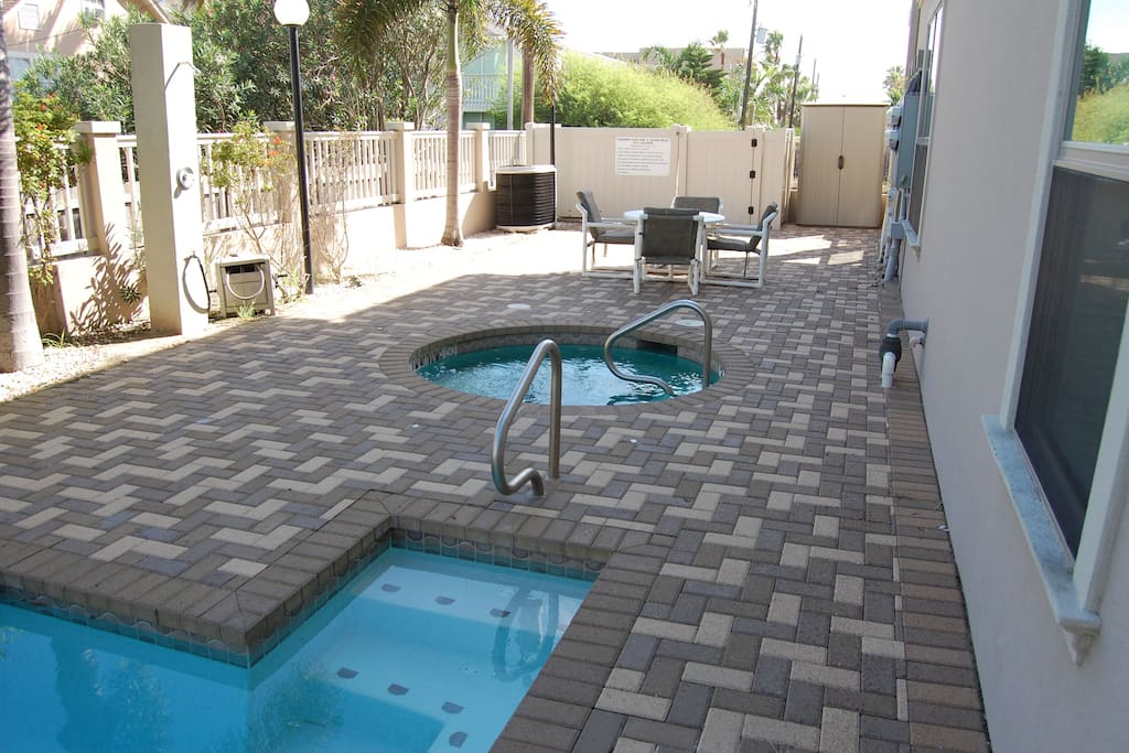 Great area to dine al fresco and relax in the hot tub.