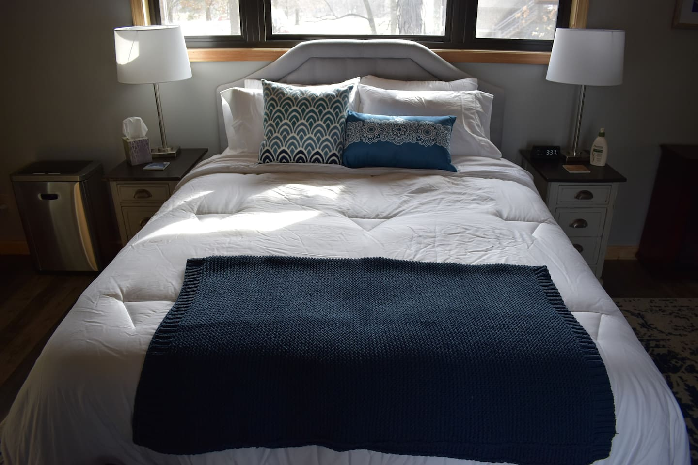 Queen size bed in the Penthouse