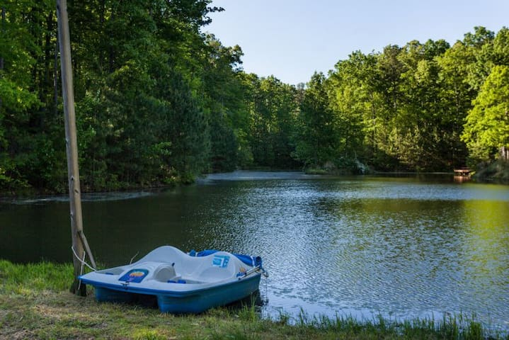 Private lake and paddle boat