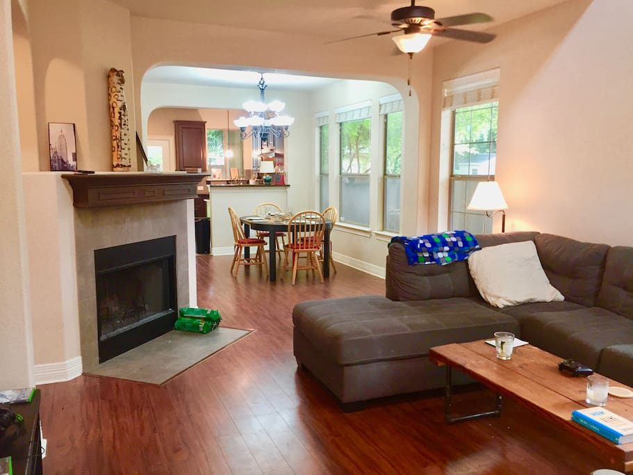 Huge living room and dining room. Open and spacious floor plan