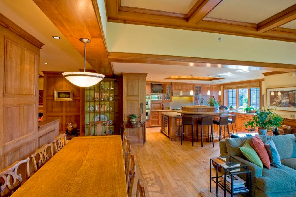 Dining and living room into kitchen