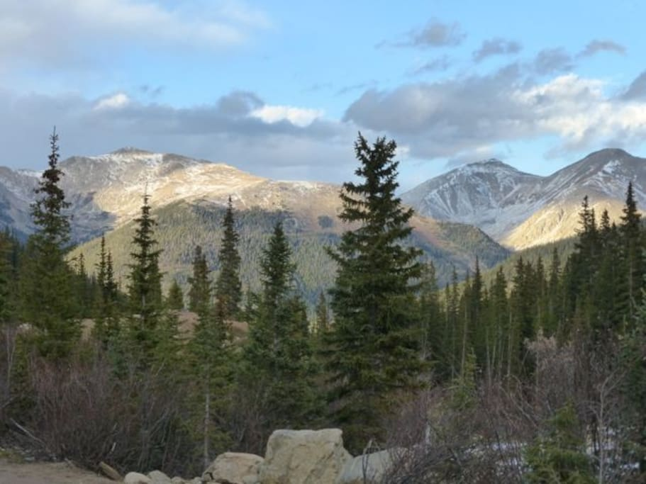 View towards Gray's and Torrey's peaks (14,000 ft) from the old mining town of Sts. Johns.  This is a 10 minute walk from our cabin.