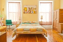 Queen size bed and full sized futon sleep up to 4 people comfortably.