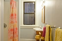 Great water-pressure, hair dryer, and extra toiletries make every stay more comfortable