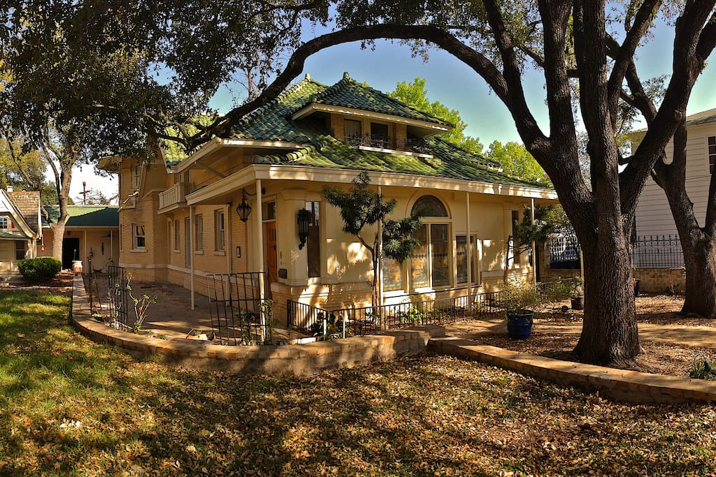 The front of the fantasy carriage house designed by well known Texas architect Atlee Ayres.