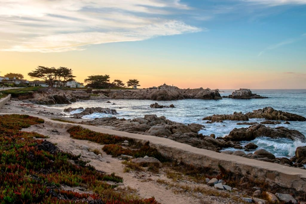 The stunning rocky shore and a small beach are right out your front door!