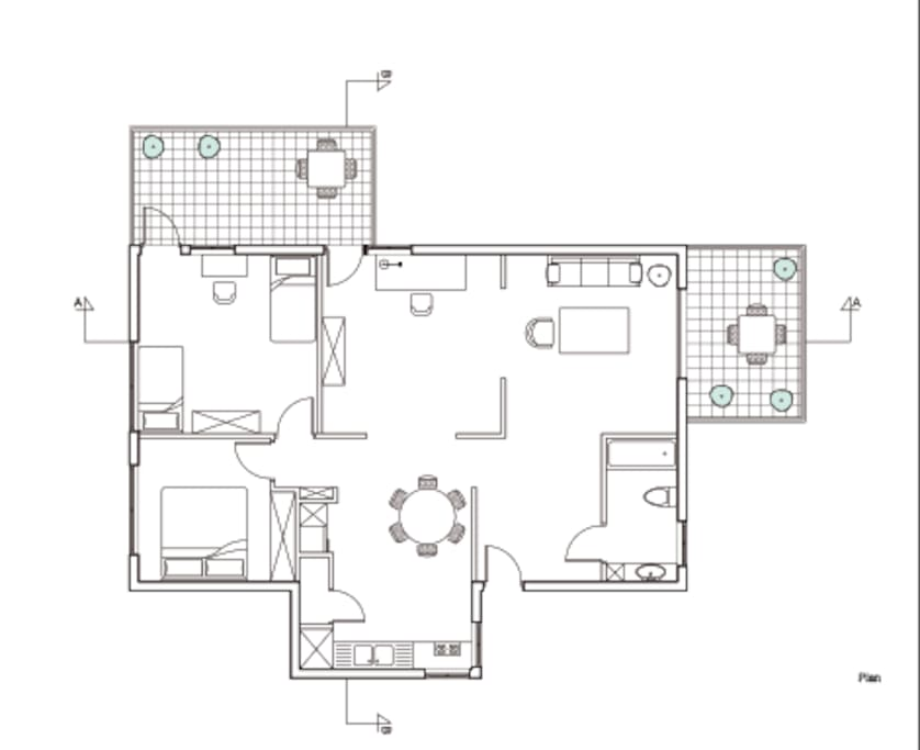 Architect map from a student, the terrasse next to the bed room is smaller in reality!!!