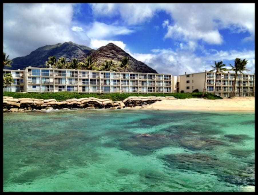 Makaha Surfside Condominiums; view from the jetty
