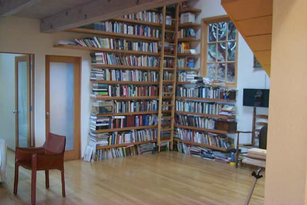 Literary library; bookshelves appear to rise from below floor and span 2 stories,wrapping around walls and accessed by rolling library ladder