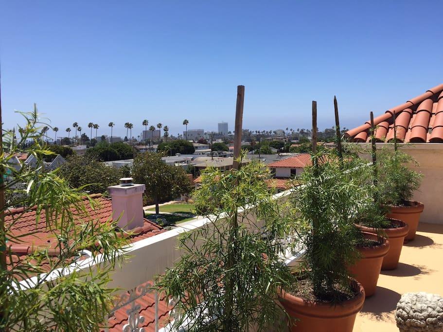 Views of Santa Monica Beach and Mountains