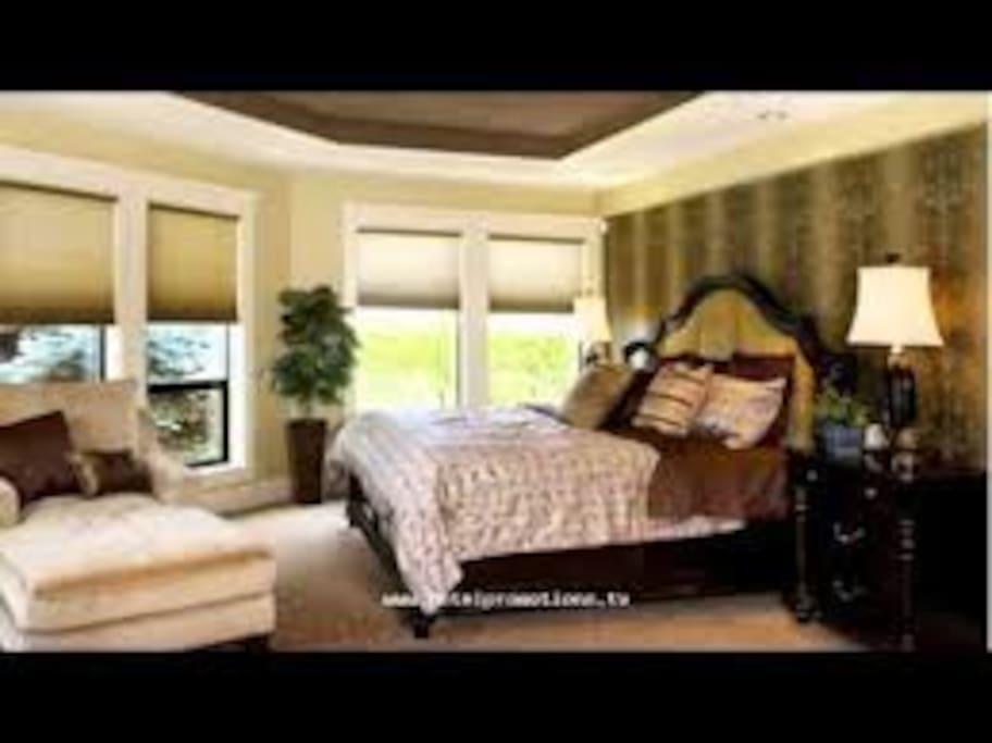 Master bedroom overlooking the beautiful outdoors, fiber optic lighting to create stars to sleep under.