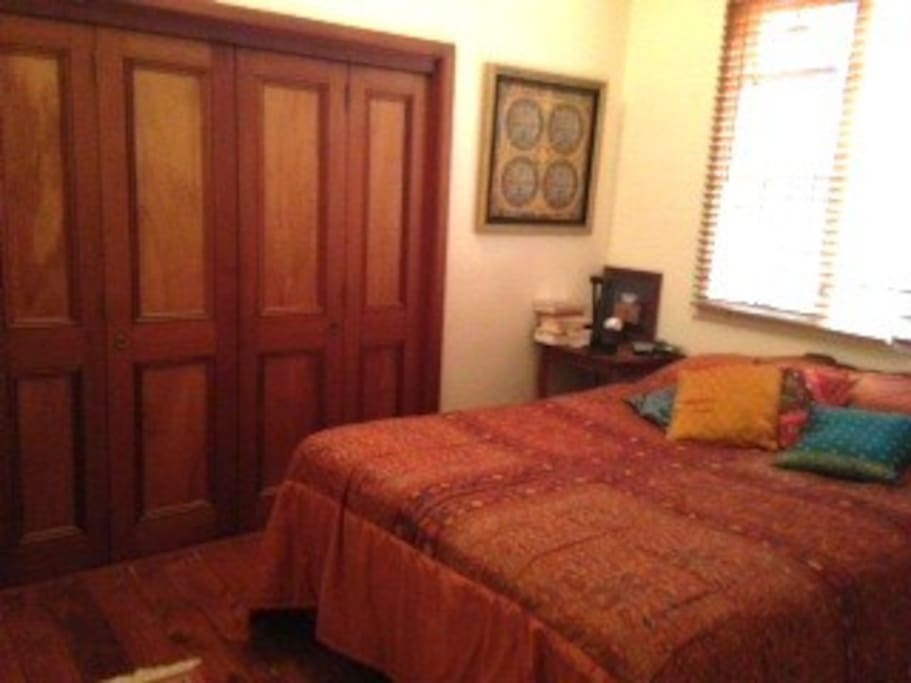 Master bedroom. Queen bed. Light and airy. Big built in wardrobe.