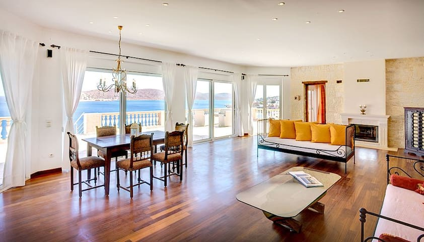 the large main living room with the amazing seaview