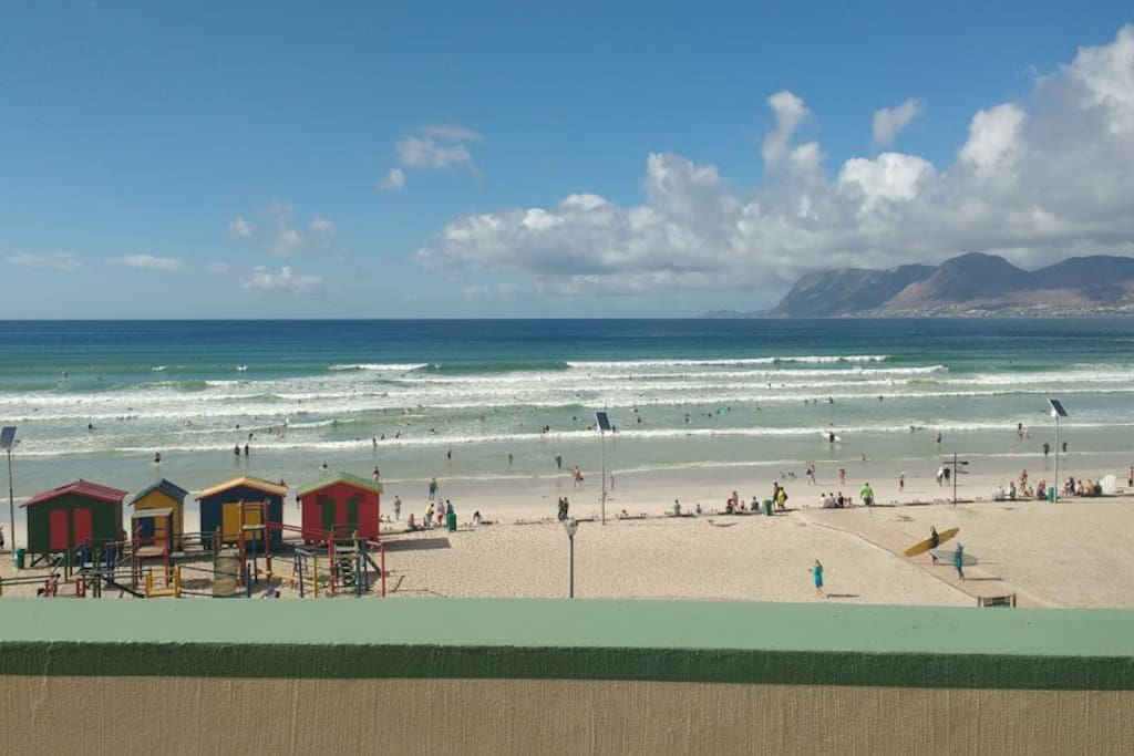 Actual View from Balcony (don't be fooled by other postings) this is full beachfront views on a HUGE Balcony looking over the best beginner surf break in South Africa!