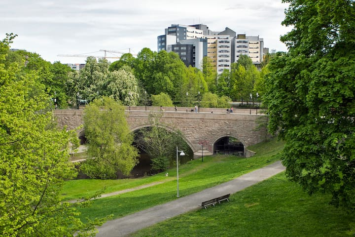 Central Oslo with green surroundings.
