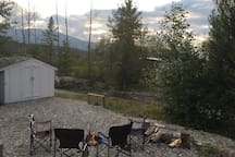 Enjoy sitting around the campfire - listen to the flowing creek and watch the sunset over the mountains