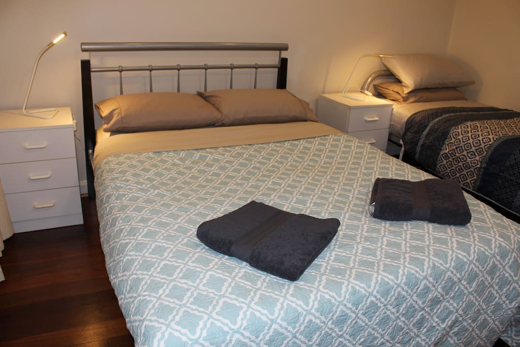 Comfortable Double Bed with another single bed sleeps maximum of three people.
