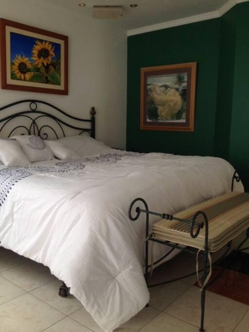 Room 1, king size bed, smart TV