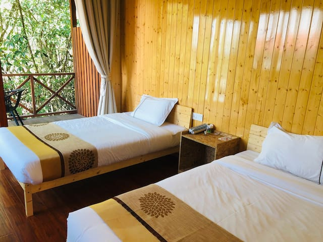 沙巴朋友家水上木屋标准双床房森林房舒适含早餐