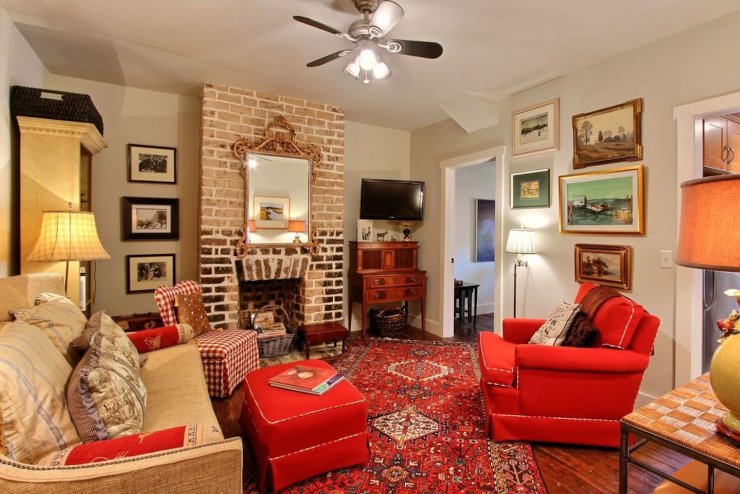 Art and Antique-Filled Living Room