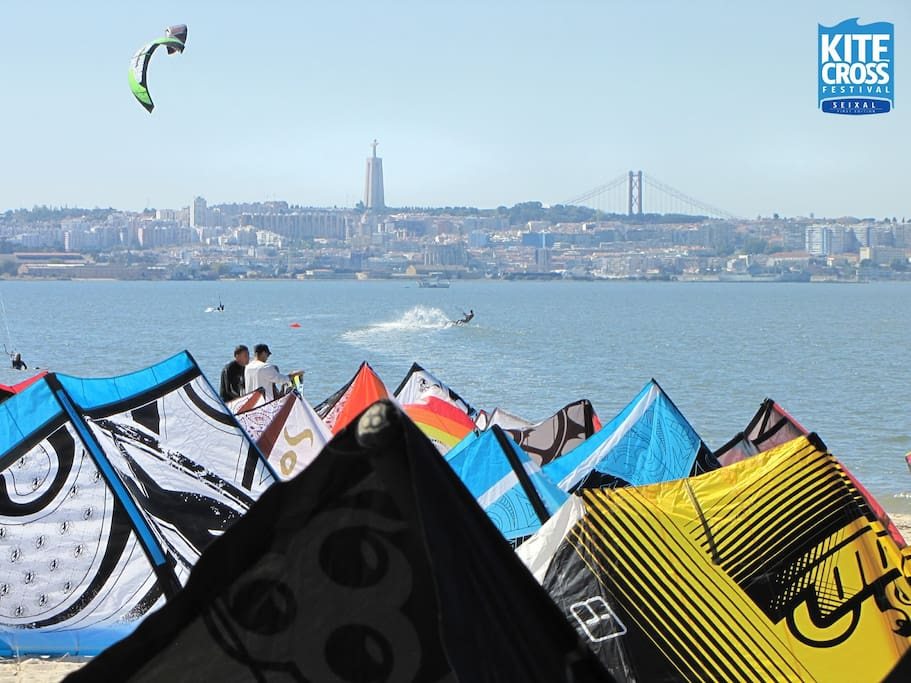 "[View of Lisbon from Praia dos Corvos Beach (10 Min from ""Gloria"") Wind Surfer's paradise"