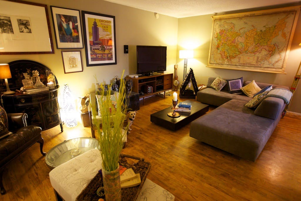 Cozy, spacious and comfortable, our low-profile living room has touches from around the world.