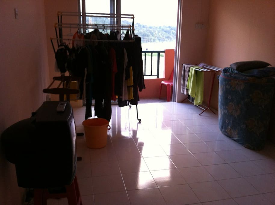 Windy apartment where you can just hang you close inside and wind will dry up your cloth!!