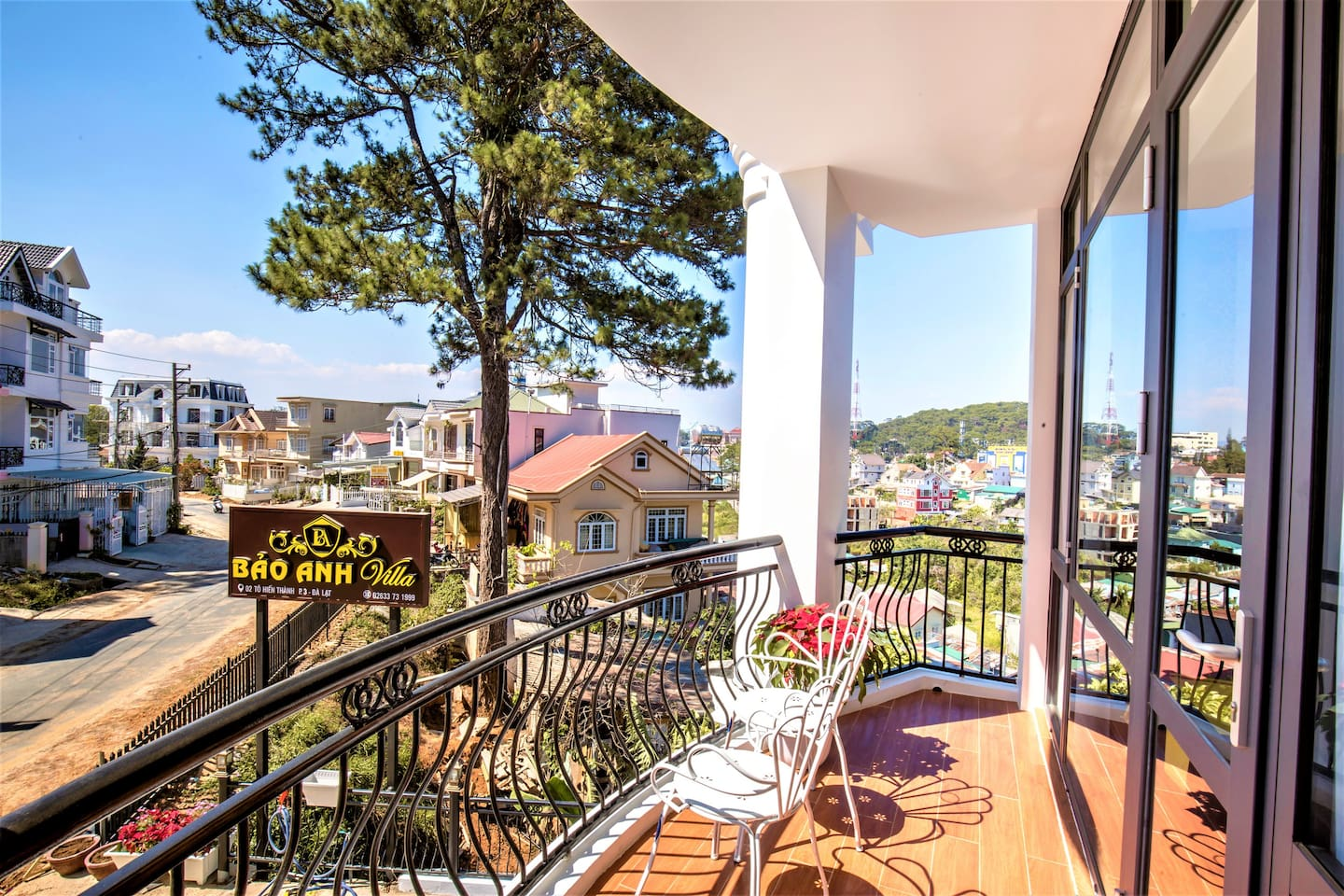 This wonderful private balcony will give you a panoramic view.