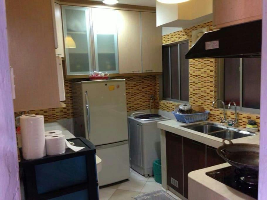 kitchen cabinet with fridge