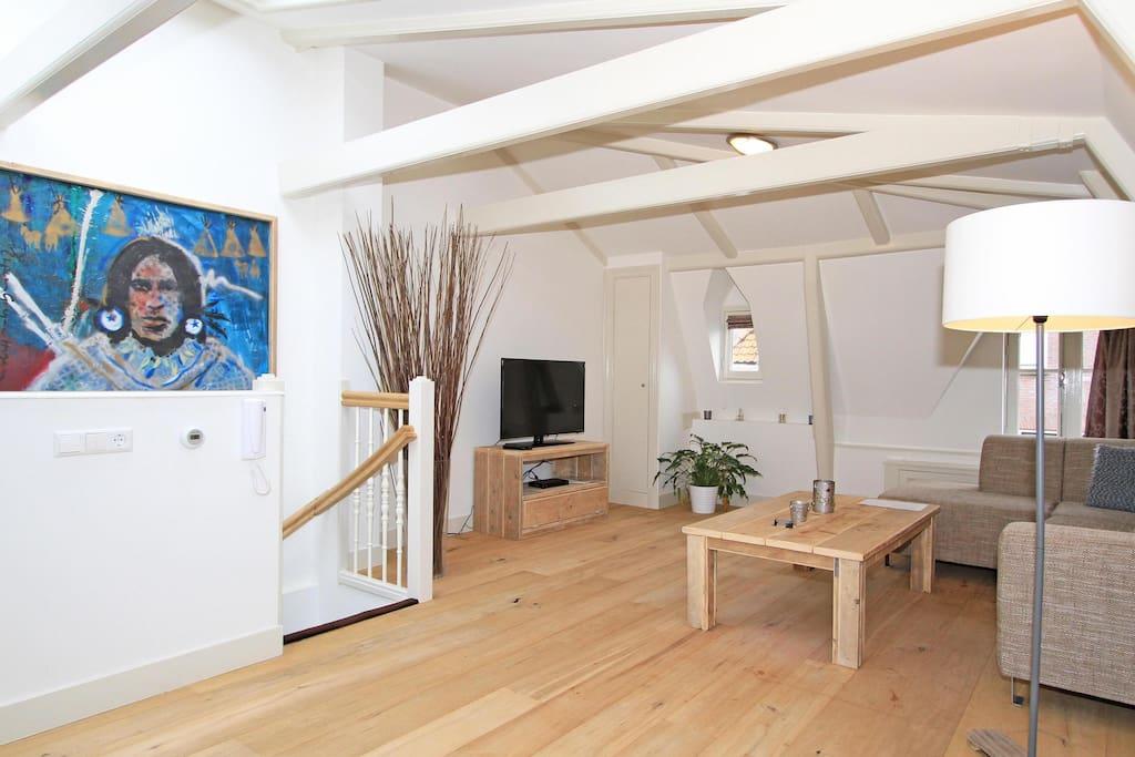 spacious living area with HDTV/wifi/Original beams/sky windows/lounge sofa etc etc