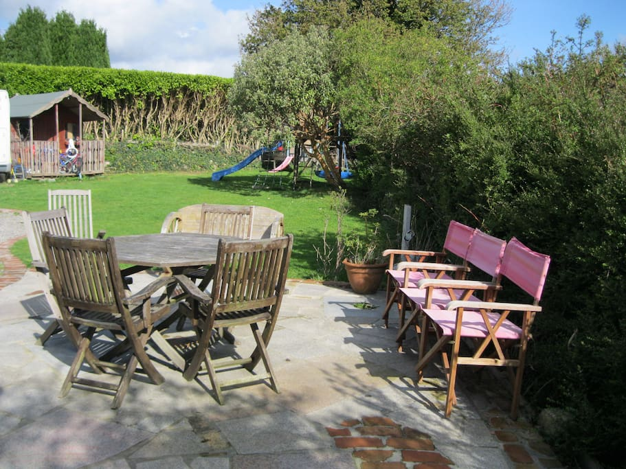 The outdoor patio and seating area