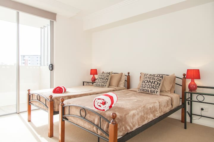 Bedroom set as two twin beds (can also be set as One king bed)  room has private ensuite