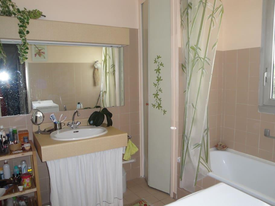 Une salle de bains lumineuse avec lave-linge