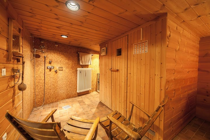 The Sauna (with cold plunge & relaxing area)
