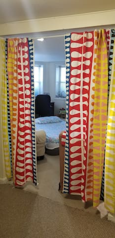 Privacy curtain separating your sleeping area from rest of apartment.