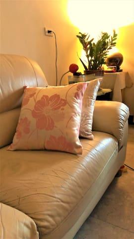 特別提供舒適的冷氣沙發區,觀迎暫時落腳竹北的旅人/洽公/背包客及毛小孩舒適溫馨的家~ - Zhubei City - Wohnung