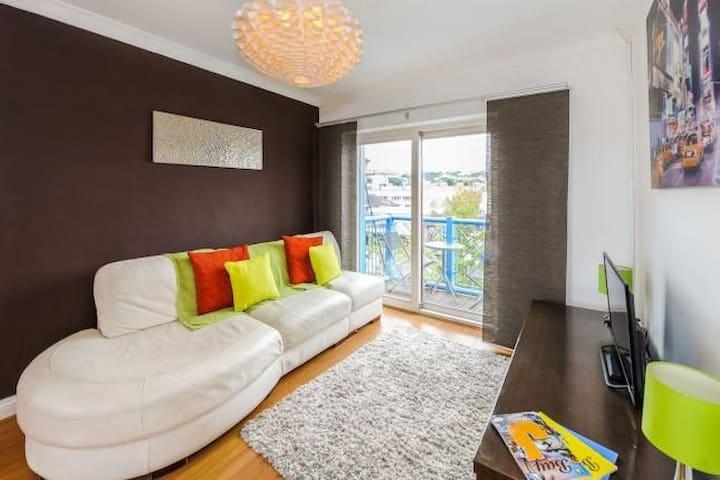Top floor, waterside Swansea Marina Apartment