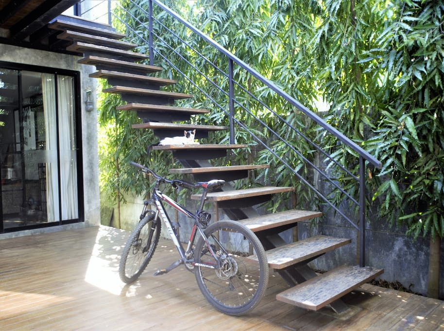 Up the external stairs to your own private apartment