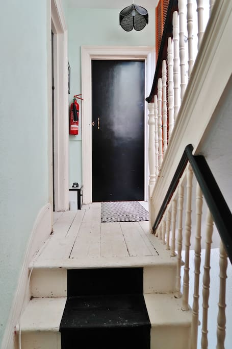 Up the stairs to the First Floor - Straight ahead is the entrance to the Studio Room