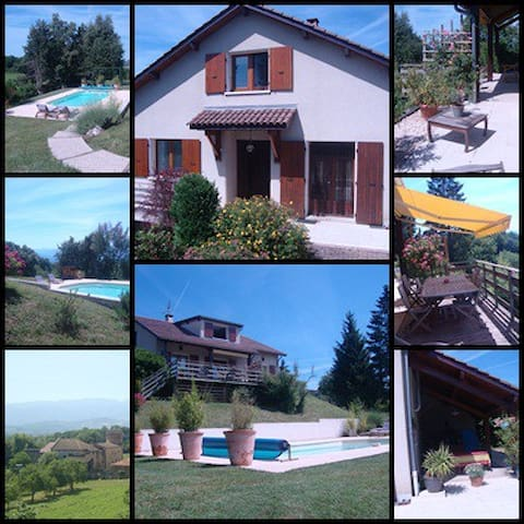 Maison piscine en campagne avec vue imprenable - Saint-Bonnet-de-Chavagne - Casa