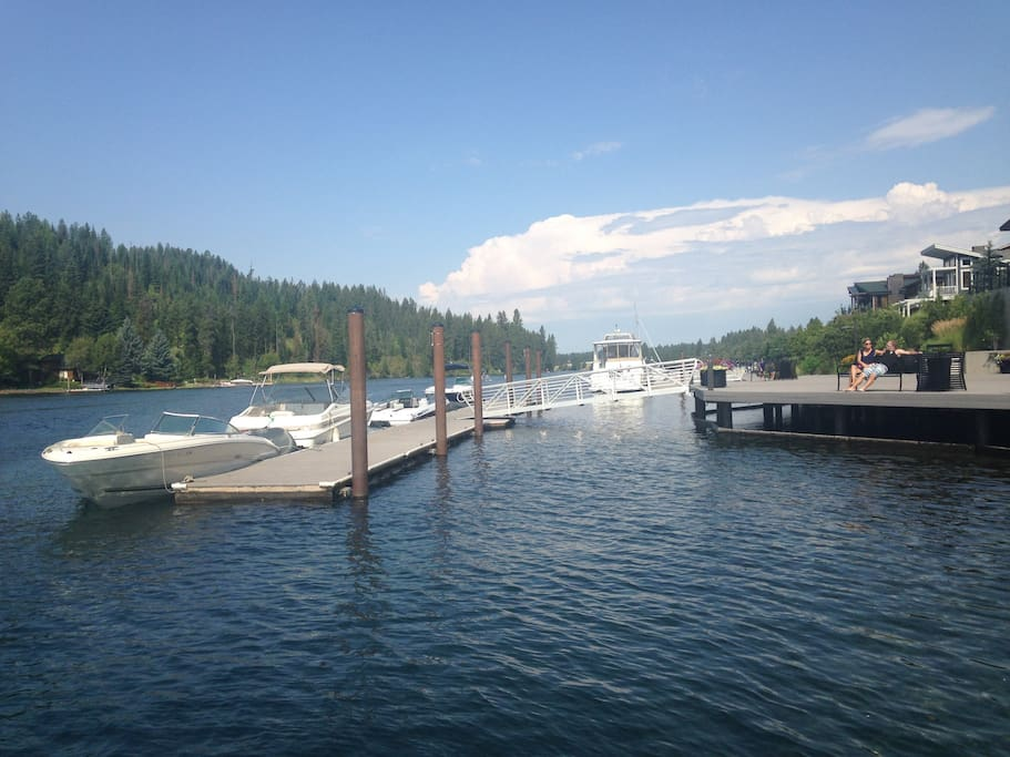 These day docks are convenient to use; Overnight mooring is provided through Hagadone Marine Group at Blackwell Island