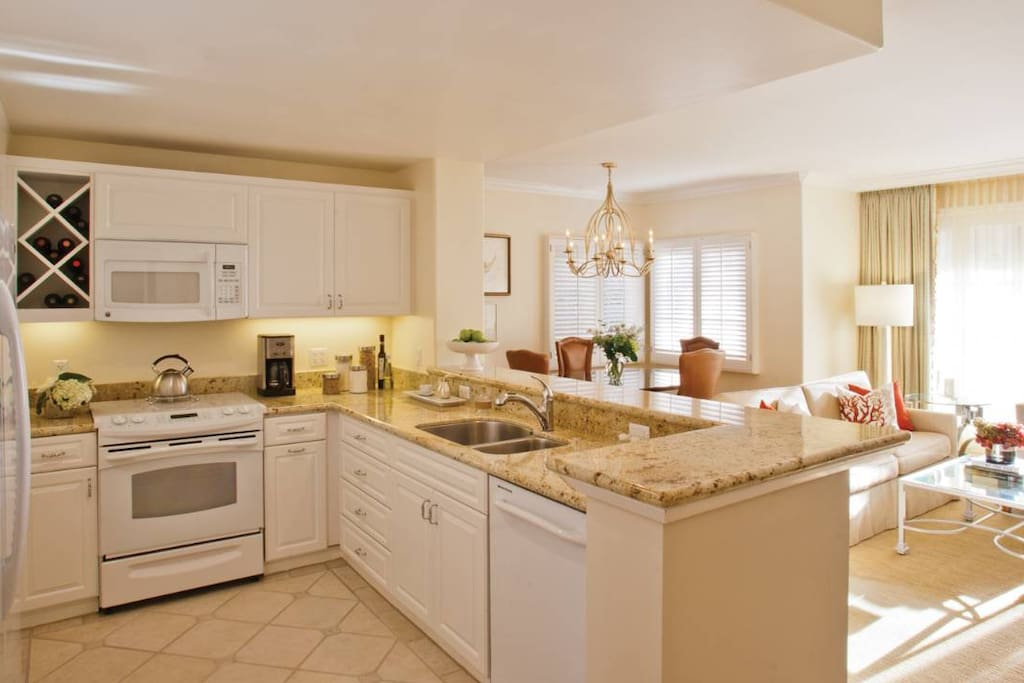 Full Kitchen includes Double Door Refrigerator. Enjoy healthy home cooked meals.